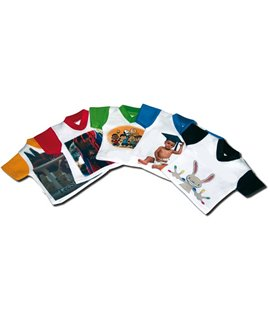 Mini T-shirt per Sublimazione con maniche Colorate. Conf. 10 PZ.
