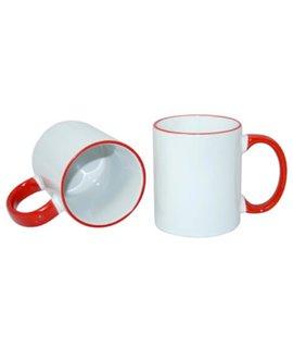 Tazza in ceramica con bordo e manico colorati