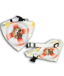 Collare per cani adattabile con Bandana bianca Personalizzabile