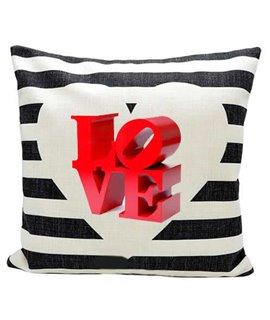 Cuscino in canvas naturale con stampa cuore con righe nere personalizzabile